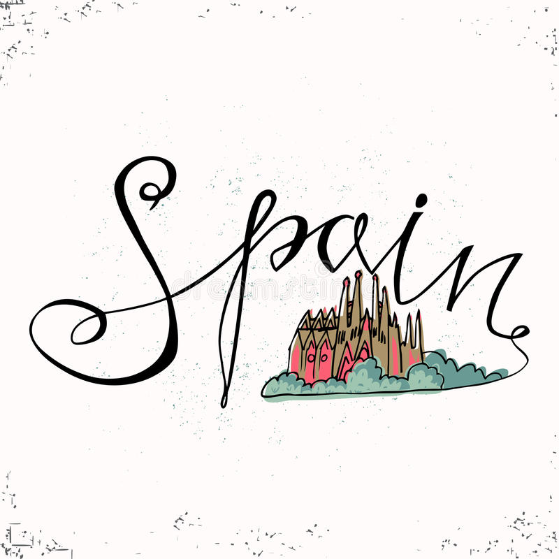 Hiszpania ręki literowanie i Kościelna Święta rodzina w Barcelona również zwrócić corel ilustracji wektora Ręka rysujący listy Pi ilustracja wektor