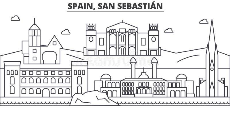 Hiszpania, San Sebastian architektury linii linii horyzontu ilustracja Liniowy wektorowy pejzaż miejski z sławnymi punktami zwrot royalty ilustracja