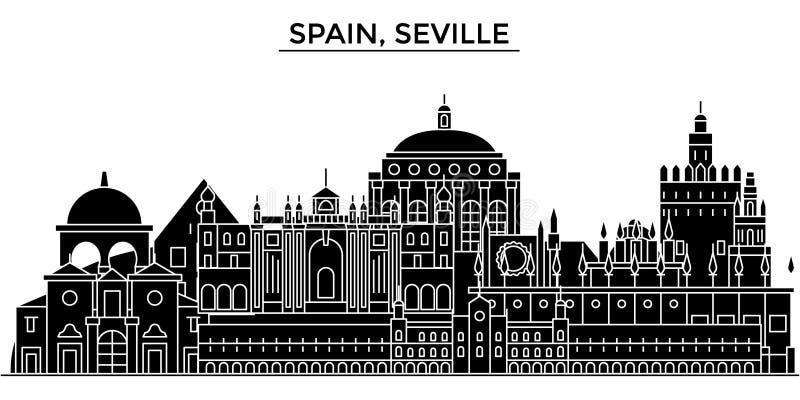 Hiszpania, Seville architektury miasto wektorowa linia horyzontu, podróż pejzaż miejski z punktami zwrotnymi, budynki, odosobneni ilustracji