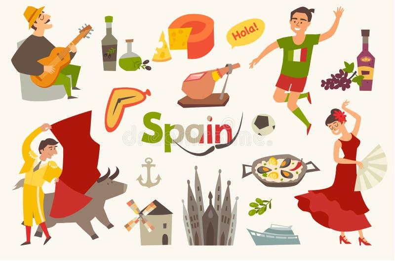 Hiszpania tradycyjni symbole ustawiający Podróż turysty element ilustracja wektor