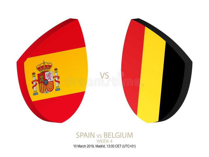 Hiszpania vs Belgia rugby 2019 mistrzostwo, tydzień 4 royalty ilustracja