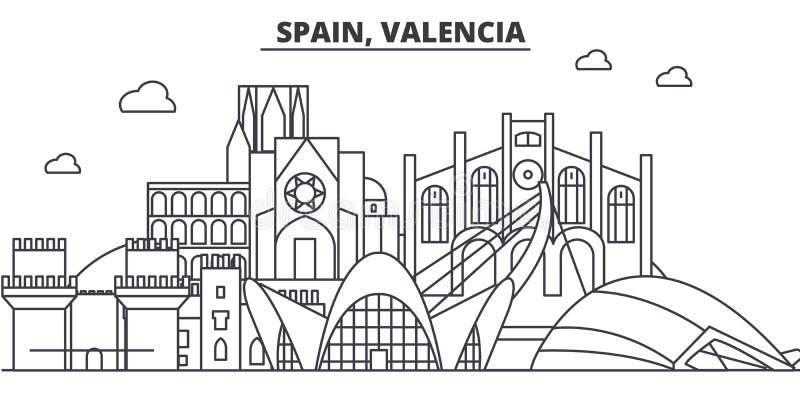 Hiszpania, Walencja architektury linii linii horyzontu ilustracja Liniowy wektorowy pejzaż miejski z sławnymi punktami zwrotnymi, royalty ilustracja
