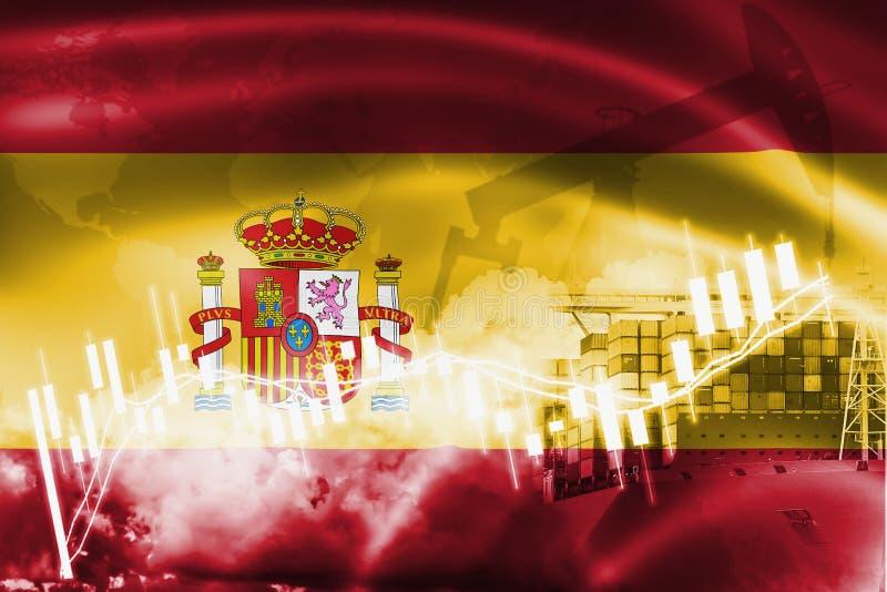 Hiszpania zaznacza, rynek papierów wartościowych, wekslowa gospodarka i handel, produkcja ropy naftowej, zbiornika statek w bizne ilustracja wektor