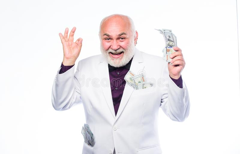 Hit the jackpot. business success. Richness. retirement. Happy lottery winner. rich mature man has lots of money. mature stock photography