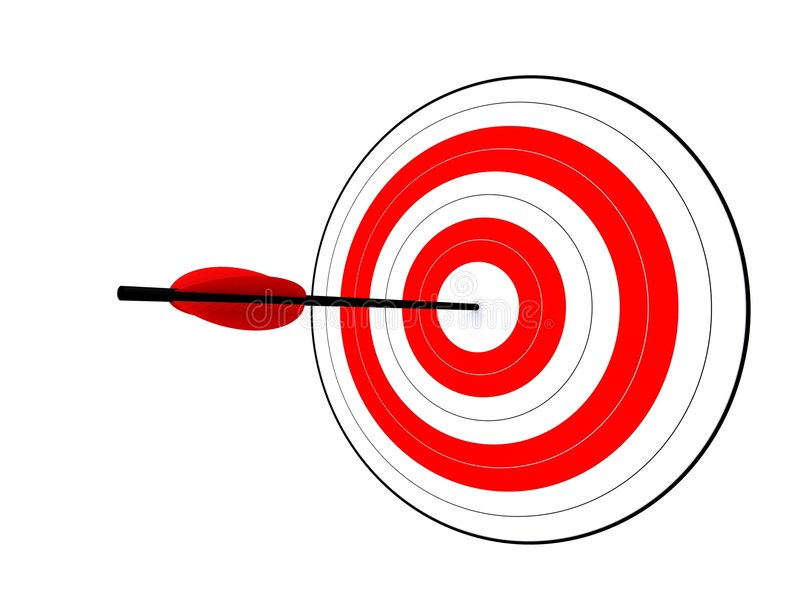 Hit the target. 3d rendered illustration of a target with an arrow royalty free illustration