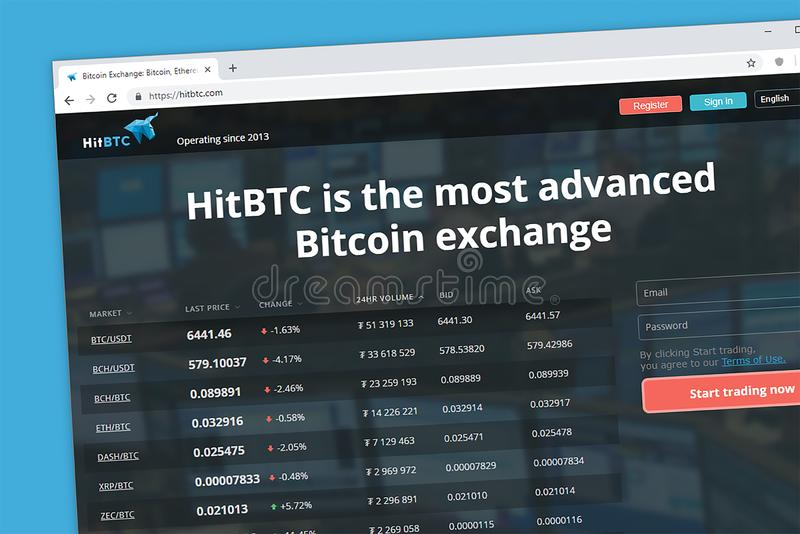 HitBTC avançou a troca do cryptocurrency de Bitcoin foto de stock
