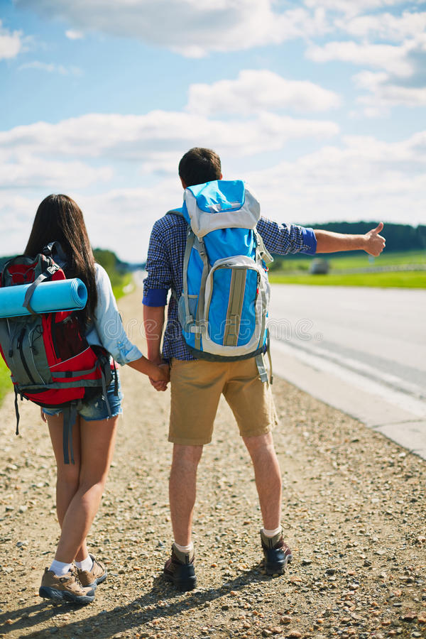 Hitch-hike travel royalty free stock photo