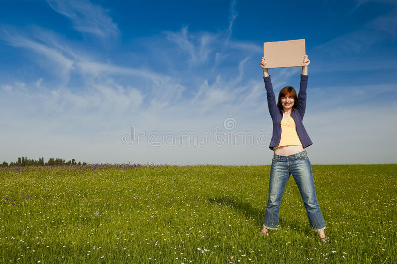 Hitch hiking girl royalty free stock photo