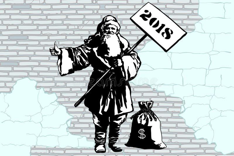 hitchhiker Άγιου Βασίλη έτους του 2018 νέος με μια τσάντα των χρημάτων διανυσματική απεικόνιση