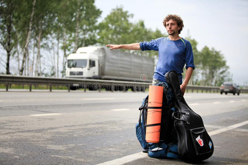 Download Hitchhiker stock photo. Image of adventurist, luggage - 25354384