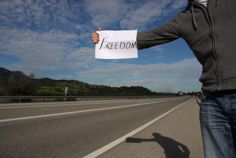 Hitchhiker di libertà immagine stock libera da diritti