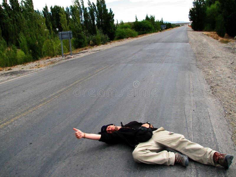 Hitchhiker disperato fotografie stock