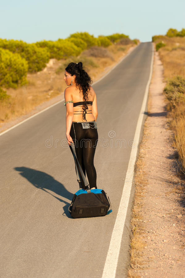 Hitchhiker sexy immagine stock