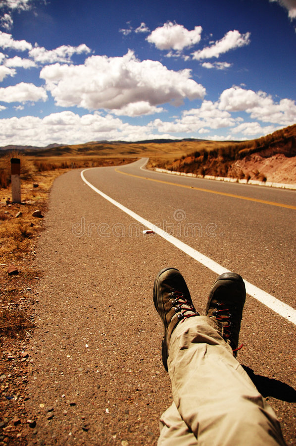 Hitchhiking. In amazing Peru. Beautiful natural unpolluted skies royalty free stock photo