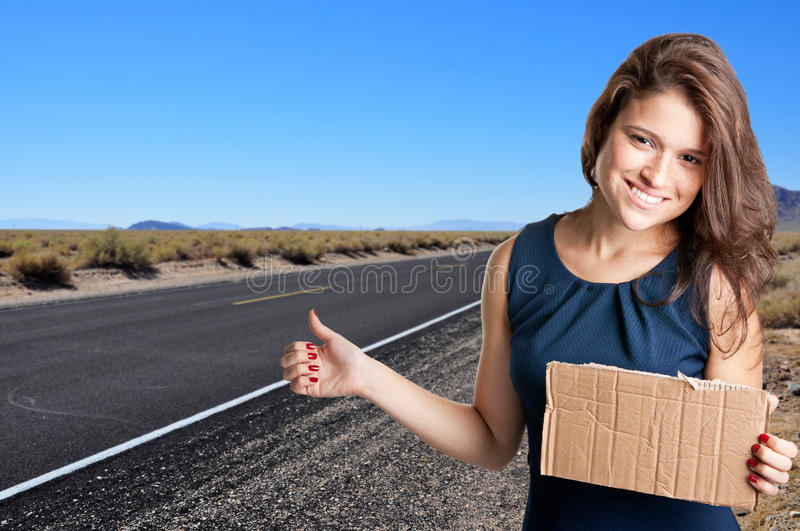 Download Hitchhiking Girl stock image. Image of hike, attractive - 27521429