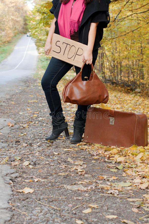 Download Hitchhiking the road stock image. Image of independent - 20227583