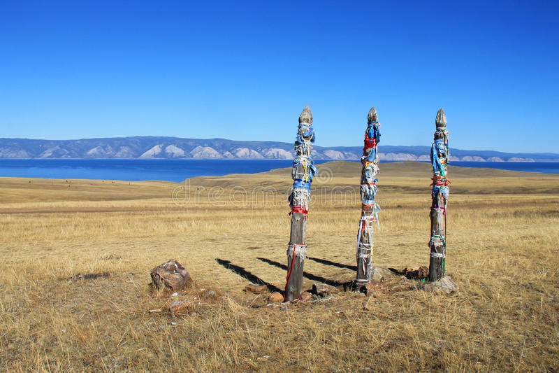 Hitching stolpe på den Olkhon ön, Sibirien, Ryssland royaltyfria foton