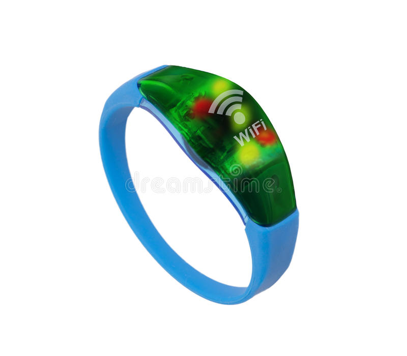 Hitech wristband. Hitech device, blue wristband, show wifi connected on white background royalty free stock photos