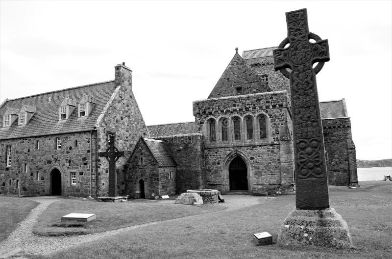 Hitos históricos escoceses - Iona Abbey fotografía de archivo libre de regalías