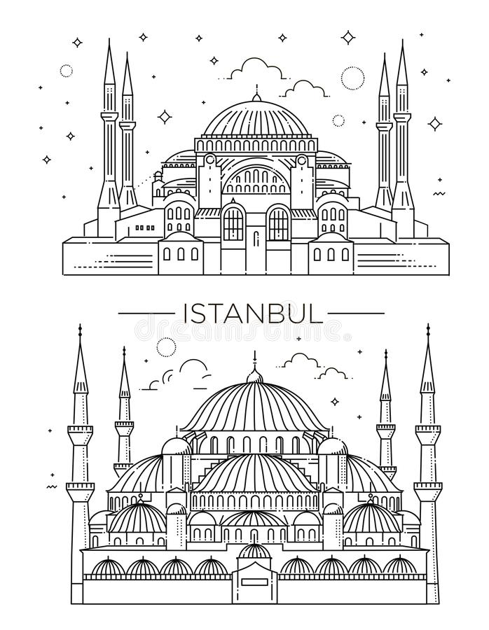 Hitos históricos, sightseeings, showplaces famosos de Turquía libre illustration