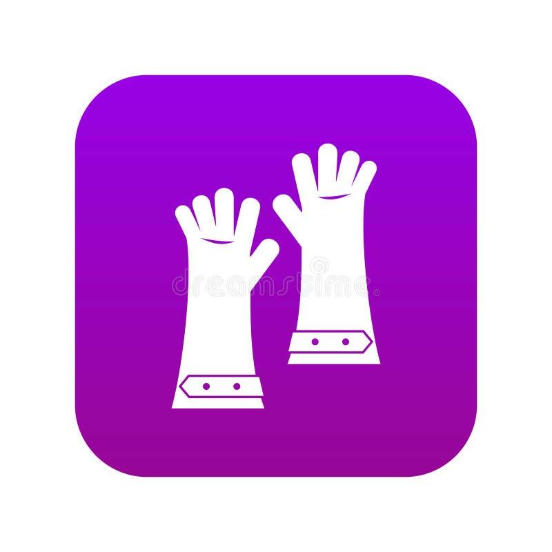 Hittebestendige handschoenen voor digitale purple van het lassenpictogram stock illustratie