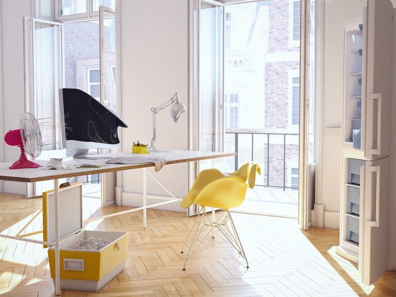 Hittegolf in het bureau het 3d teruggeven royalty-vrije stock fotografie