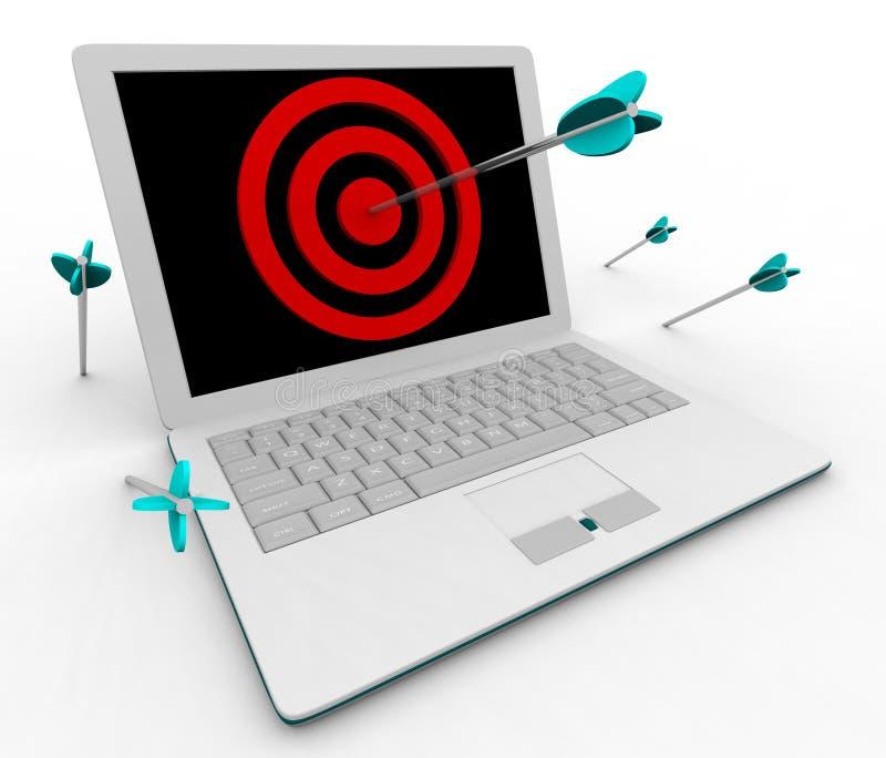 Hitting Bullseye on Computer Laptop. An arrow hits a bullseye on a white computer laptop stock illustration
