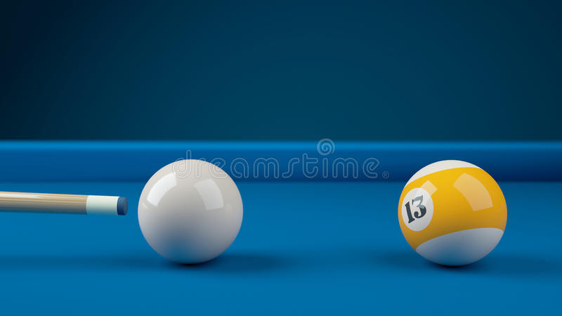 Hitting the cue ball number 13 on a blue billiard ball. Closeup 3d royalty free illustration