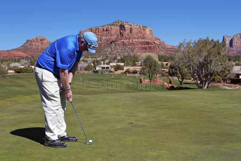 Hitting A Putt In Sedona Stock Photo