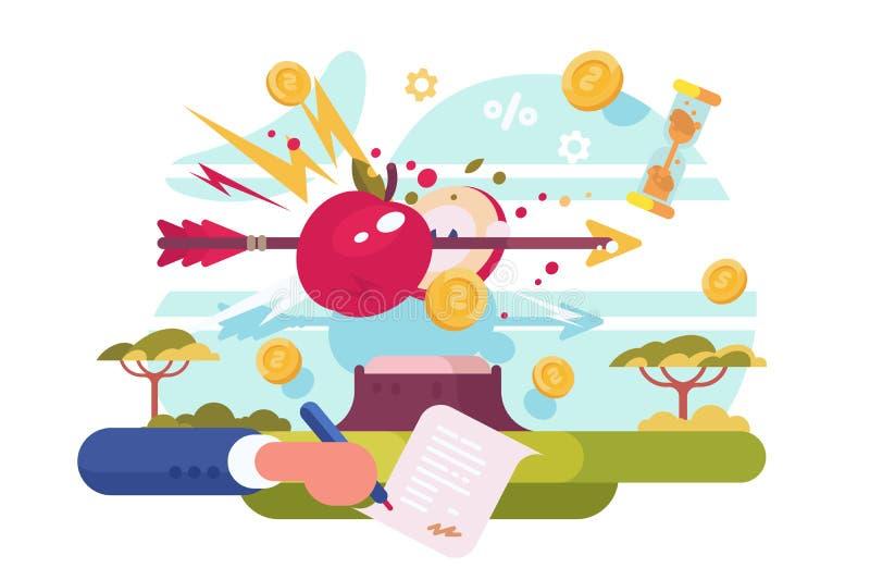 Hittng de la flecha a la blanco de la manzana libre illustration