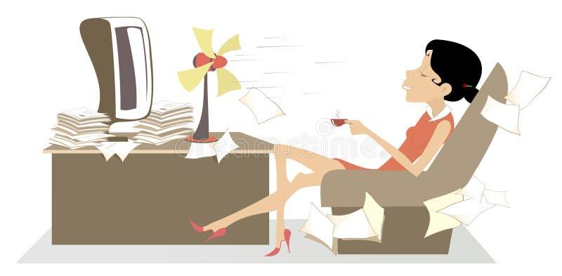 Hitze im Büro, Frau, Tischventilator und ein Tasse Kaffee oder eine Teeillustration lizenzfreie abbildung