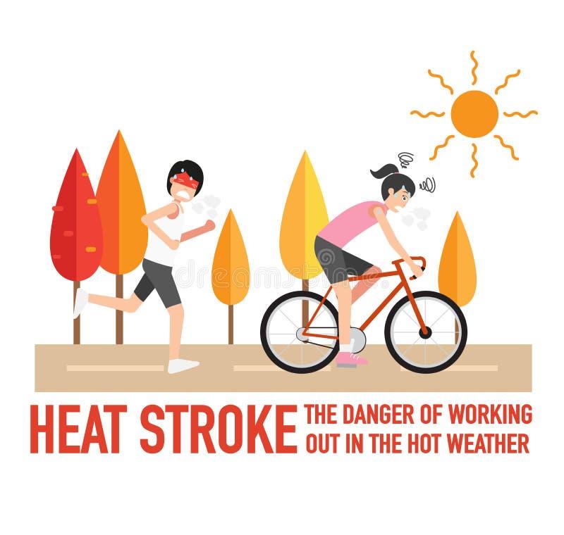 Hitzeschlag, die Gefahren des Ausarbeitens im heißen Wetter stock abbildung