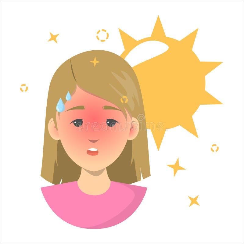 Hitzeschlagkonzept Risiko der Dehydrierung von der Sonne vektor abbildung