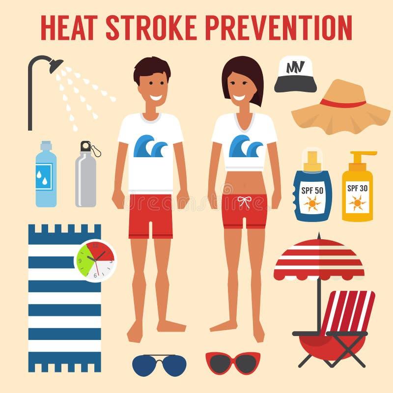 Hitzesonnenanschlagverhinderung stock abbildung