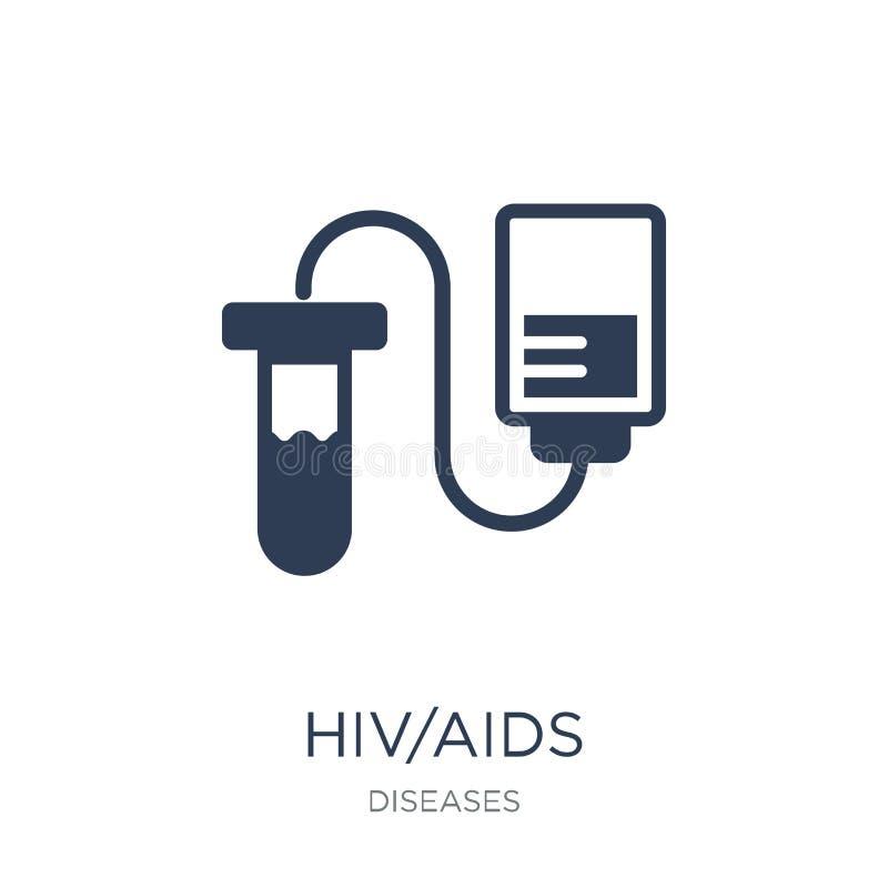 HIV/AIDS象 在白色backgro的时髦平的传染媒介HIV/AIDS象 皇族释放例证