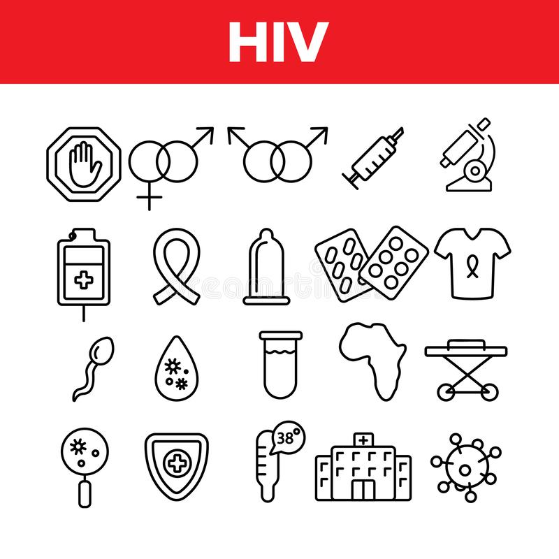 HIV And AIDS Awareness Vector Linear Icons Set. HIV Symptoms Diagnostics Outline Symbols Pack. Human Immunodeficiency Virus Research, Treatment And vector illustration