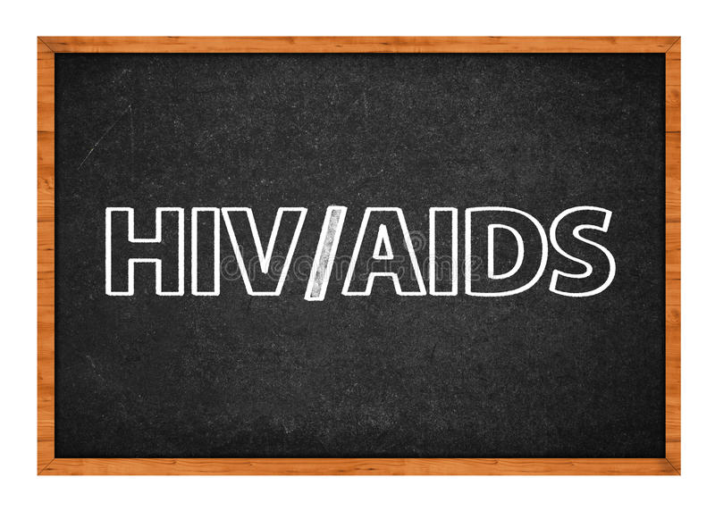 HIV and AIDS class. HIV and AIDS on school blackboard, sexually transmitted diseases class stock images