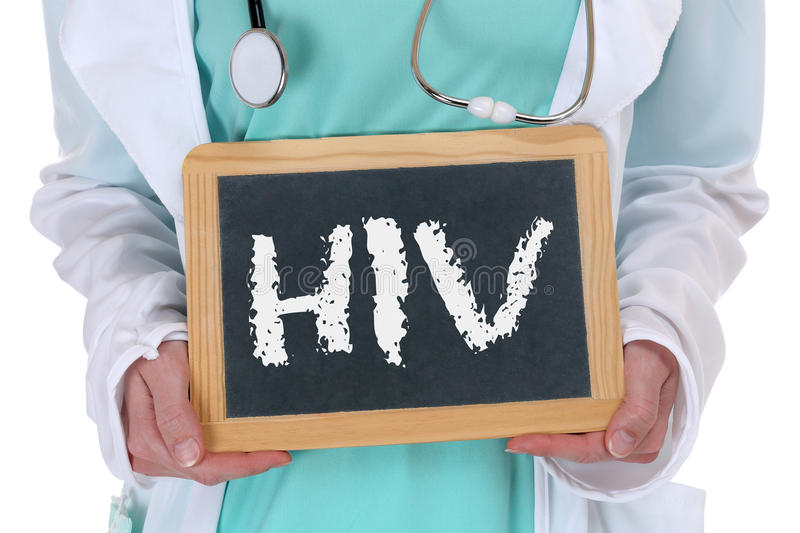 HIV AIDS diagnosis disease ill illness healthy health doctor nurse. With sign stock photography