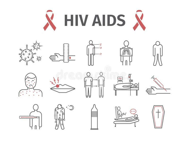 HIV AIDS Symptoms, Treatment. Line icons set. Vector illustration. HIV AIDS Symptoms, Treatment. Line icons set. Vector signs for web graphics stock illustration