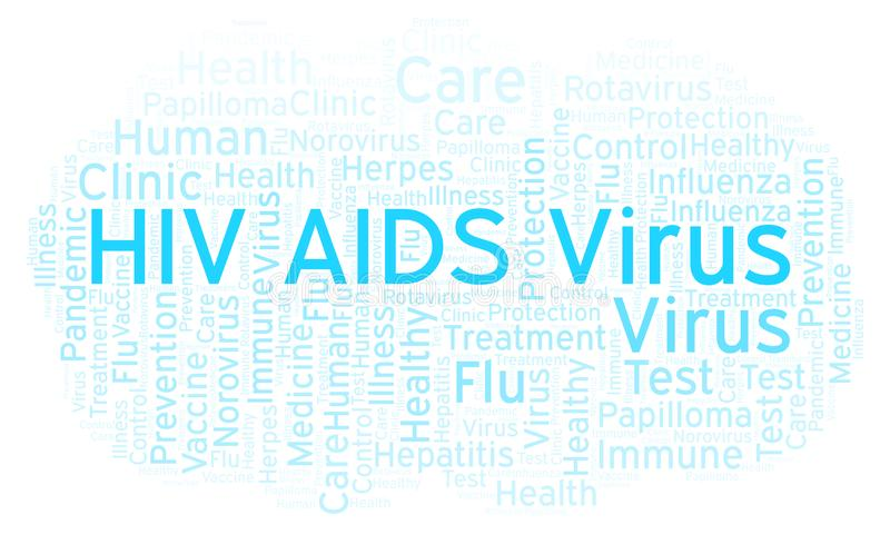 HIV AIDS Virus word cloud, made with text only. HIV AIDS Virus word cloud, made with text only royalty free illustration