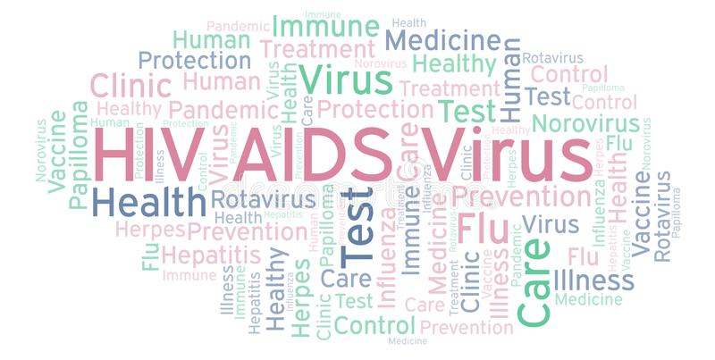HIV AIDS Virus word cloud, made with text only. HIV AIDS Virus word cloud, made with text only stock illustration