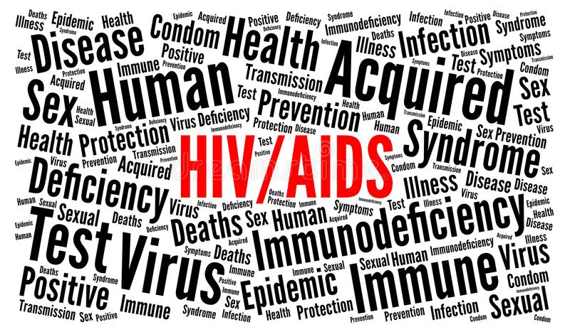 HIV AIDS word cloud. Illustration stock illustration