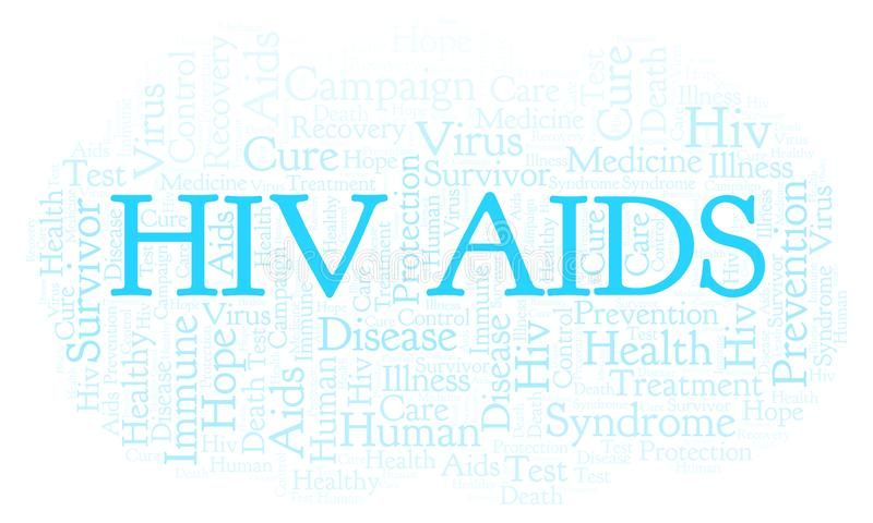 HIV AIDS word cloud, made with text only. HIV AIDS word cloud, made with text only royalty free illustration