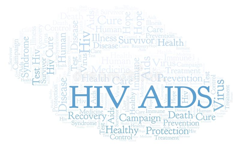 HIV AIDS word cloud, made with text only. HIV AIDS word cloud, made with text only stock illustration