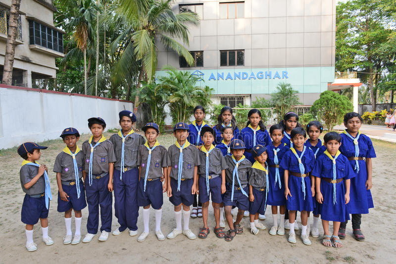 HIV Children. A group of HIV affected students posed at the residential center. A Kolkata based NGO has developed a complete network of services designed to royalty free stock photo