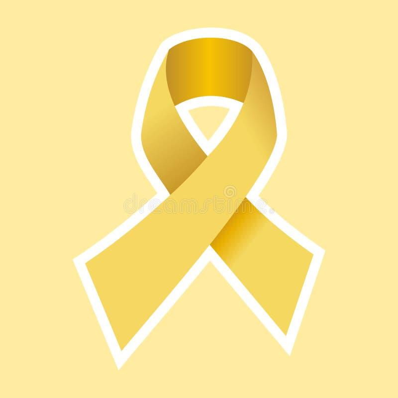 HIV d'aides ou symbole de Cancer en or illustration de vecteur