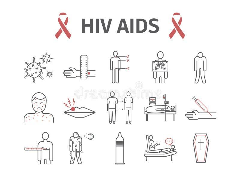 HIV de Symptomen van AIDS, Behandeling Geplaatste lijnpictogrammen Vector illustratie stock illustratie
