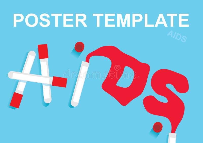 HIV en AIDS in bloed en reageerbuizen wordt geschreven die Malplaatjeaffiche vector illustratie