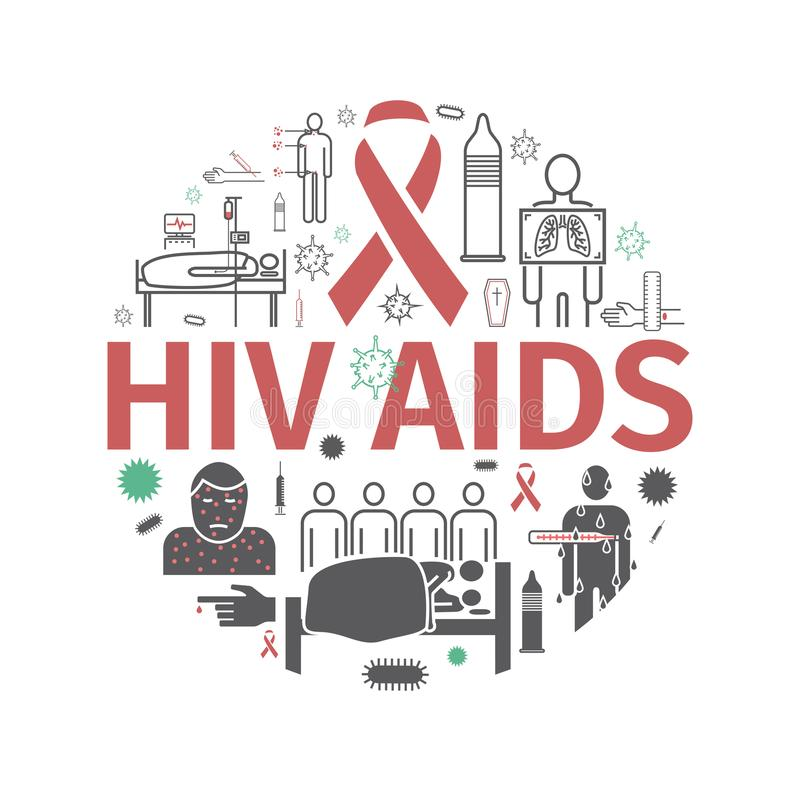 HIV FACILITE la bannière Symptômes, traitement Ligne icônes réglées Illustration de vecteur illustration stock