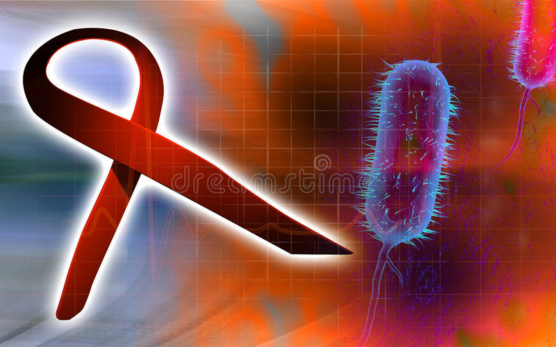 Hiv-Farbband und Bazillus Bakterium lizenzfreie abbildung